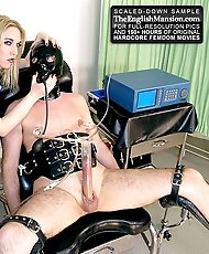 Mistress Sidonia binds her slave and proceeds to try and milk him.