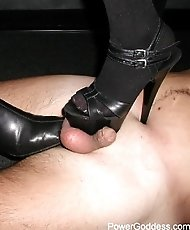 Two Mistresses trampling a male slave