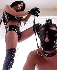 Mistress in latex training her male slave to be a dog
